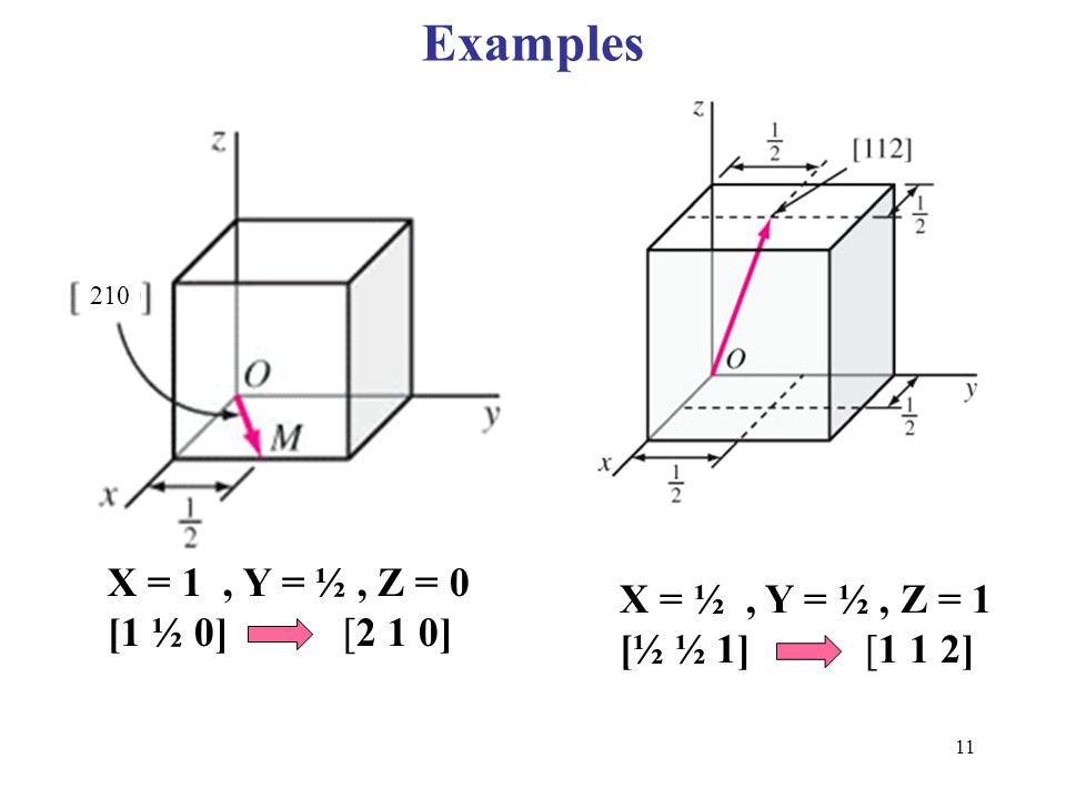 Examples X = 1 , Y = ½ , Z = 0 X = ½ , Y = ½ , Z = 1 [1 ½ 0] [2 1 0]